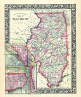 Illinois, Chicago, World Atlas 1864 Mitchells New General Atlas